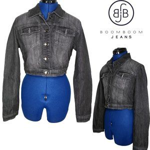 Boom Boom Jeans Cropped Embroidered Jean Jacket